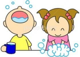 手洗う女の子